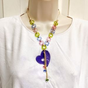 Murano Glass Heart Necklace NWT